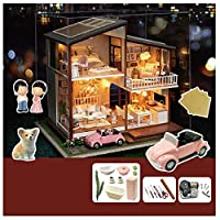 SYLTL Diy Dollhouse Kit, Three-storey Villa Handmade Dollhouse LED Lights Music Box Home Decor with Kitchen Bedroom Wooden Dolls House Birthday Gift
