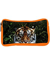Snoogg Eco Friendly Canvas Jungle Tiger Designer Student Pen Pencil Case Coin Purse Pouch Cosmetic Makeup Bag