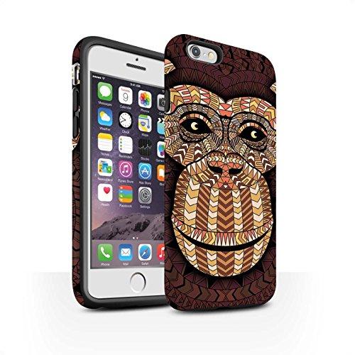 STUFF4 Matte Harten Stoßfest Hülle / Case für Apple iPhone 5/5S / Elefant-Grün Muster / Aztec Tier Muster Kollektion Affe-Orange