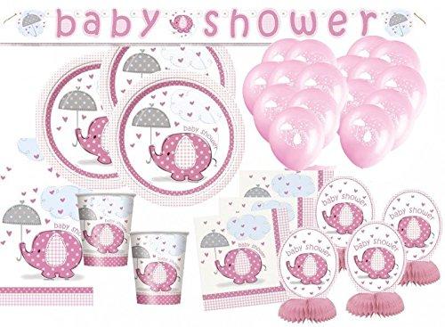 efant in Rosa Babyshower Set für 16 Personen ()