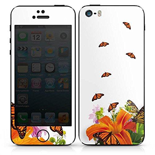 Apple iPhone 5s Case Skin Sticker aus Vinyl-Folie Aufkleber Schmetterlinge Blume Lilie DesignSkins® glänzend