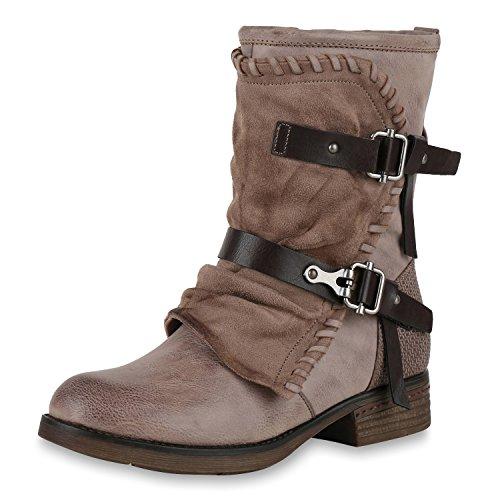 Damen Schuhe Stiefel Biker Boots Used Look Leicht Gefütterte Stiefeletten Khaki Prints 39 Jennika (Gefüttert-print-rock)
