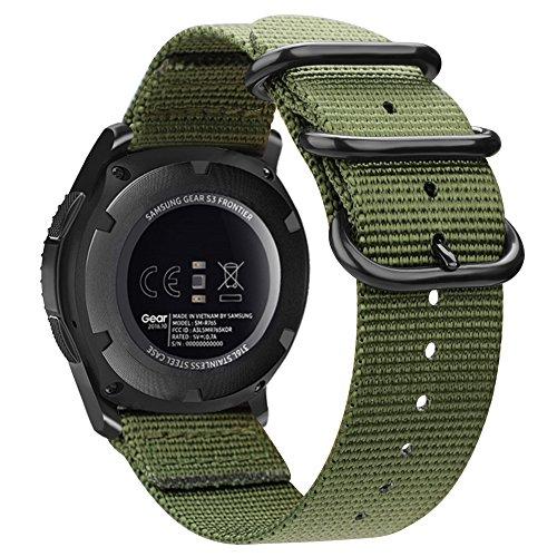 Fintie Armband kompatibel für Galaxy Watch 46mm / Gear S3 Classic/Gear S3 Frontier/Huawei Watch GT - Nylon Uhrenarmband Sport Armband verstellbares Ersatzband mit Edelstahlschnallen, Olive (Sport-armbänder)