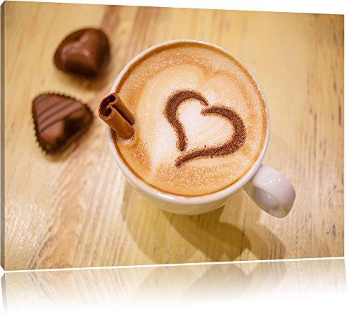 Kaffee Coffee Herz aus Schaum Cappucino Format: 60x40 cm auf Leinwand, XXL riesige Bilder fertig gerahmt mit Keilrahmen, Kunstdruck auf Wandbild mit Rahmen, günstiger als Gemälde oder Ölbild, kein Poster oder Plakat Herz Kaffee