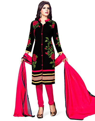 Jevi Prints Women's Unstitched Synthetic Crepe Black & Pink Floral Printed Salwar...