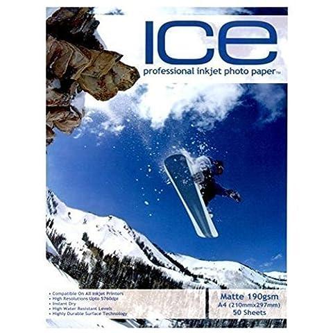 Ice Papier photo mat professionnel pour imprimante jet d'encre A4 190 g/m² 50 feuilles