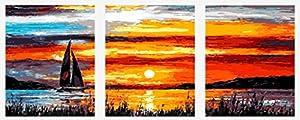 Wowdecor kit dipingere con i numeri per adulti bambini Junior principianti per anziani, dipinto di numeri set di 3pezzi Set–vela tramonto mare paesaggio 16x 20x P cm Frameless
