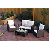 New Rattan Wicker Weave Garden Furniture Patio Conservatory 2 or 3 Seater Sofa Sets (Brown, Algarve 2 1 1)