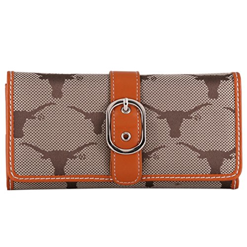 Sports Team Accessories Texas Longhorns Leder orange und braun Jacquard Stoff Damen Geldbörse Ut Burnt Orange