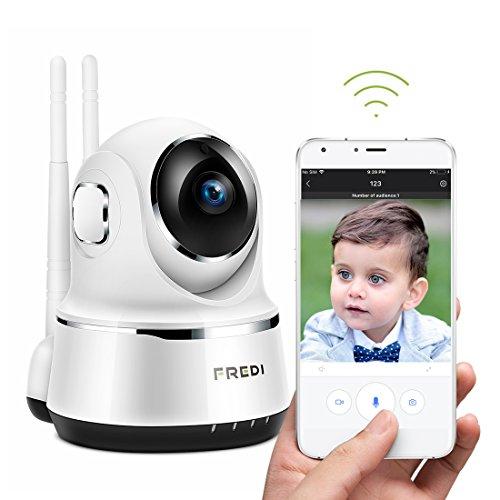720P HD Wlan Wifi IP Überwachungskamera Kamera Sicherheitskamera Haustier Kamera IP Cam Kabellos P2P Schwenkbar Bewegungsmelder 2 Weg Audio IR Nachtsicht für Baby Überwachung (720P weiß)