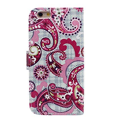 Flip Portafoglio Borsa Carta Titolare iPhone 6 Plus Custodia 5.5 Case, Bellissimo Paisley Fiore Modello Elegante Signora Ragazza Stile, Multi Function PU Pelle iPhone 6S Plus Cover Rosa