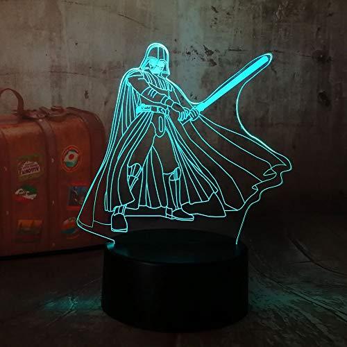 3D RGB LED Luz de noche Cool Darth Vader 7 Color Chang Sleep Lámpara de mesa Novedad...