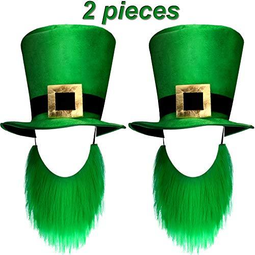 Zhanmai 2 Stück St. Patrick's Day Shamrock Grün Hüte Kobold Hut Kostüm Zubehör für Party Lieferungen (Stil Satz 1) (Glücklicher Kobold Kostüm)