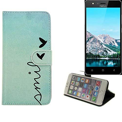 K-S-Trade® für TP-LINK Neffos C5S Wallet Case Schutz Hülle Flip Cover Tasche ''Smile'', türkis