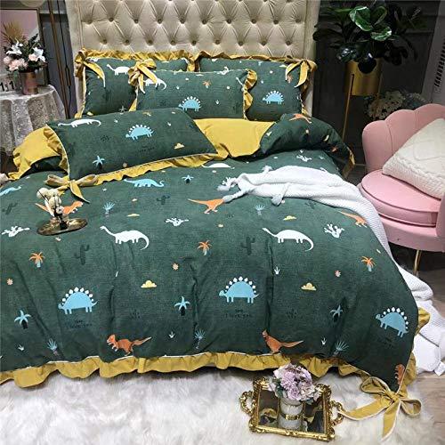 TAYIBO Bettwäsche Set aus Mikrofaser Bettbezug,Vierteiliges Bogenset mit Spitzenbezug -F