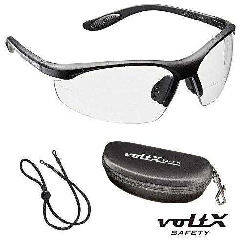 voltX 'CONSTRUCTOR' BIFOKALE Schutzbrille mit Lesehilfe CE EN166F zertifiziert / Sportbrille für Radler (KLAR +1.5 Dioptrie) enthält Sicherheitsband + Sicherheitsetui mit steifem Clamshell Verschluss – Bifocal Safety Glasses