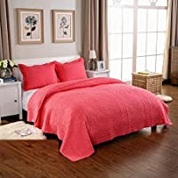 Quilting Tree 100% Cotton Red Embroidery Quilted Bedspread/Blanket with Pillowcase Set - King and Queen Size