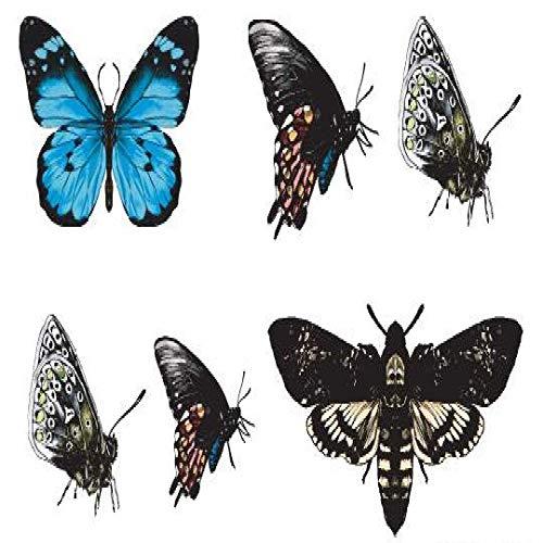 adgkitb 5 stücke Schmetterling Temporäre Tätowierung Aufkleber wasserdichte Mädchen Teens Kinder Zurück Schulter Brust Arm Hand Gefälschte Tätowierungen SF3612 10,5X6 cm