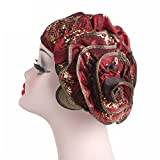 Berretto Donna,Kword Donna Oro Seta Tessuto Cappello Fiore Fascia, Donna Retrò Grandi Fiori Cappello, Turbante Cappello Tappo Colmo (Rosso)