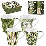 Easy Life 128cmtp Confezione 4mug in porcellana fine Coffee Mania tropicale, 0.3liters, Multicolore