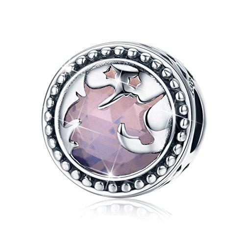 Abalorio de unicornio fantasía plata de ley 925, Forma Redonda Charm compatible con Pulseras Pandora y Cadena de Serpiente de Europeas, Regalo de Navidad, Cumpleaños para madre, esposa, novia BJ09003