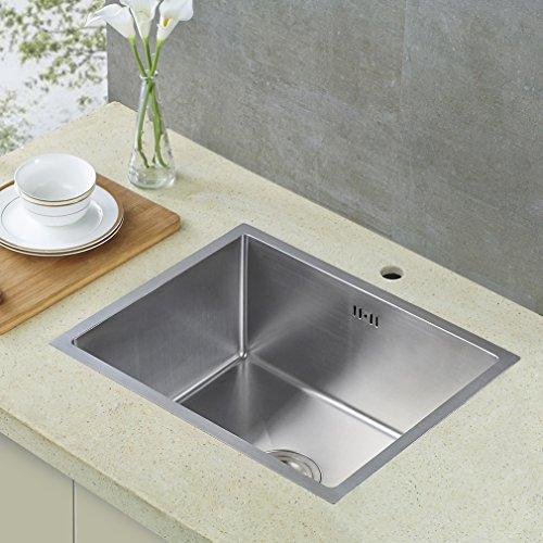 Auralum Lavello da cucina incasso in acciaio inox seta lucida con 1 ...