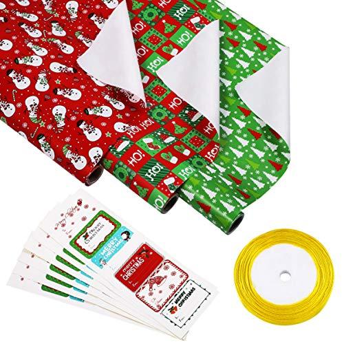 STOBOK 3 Rollen Geschenkpapier Weihnachts DIY Packpapier Rolle mit 1 Rolle Goldbänder und 36 Weihnachten Geschenk Aufkleber