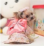 Costume Kimono de coton pour Chien ou Chat GXY - Vetements Pastoral floral pour chien, chiot ,les animaux de compagnie pour Hiver (L, Rose)