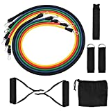 KINO 11Pcs Resistance Bands Set, with Door Anchor, Handles, Ankle Straps and Carrying Bands,Elastic Pull Rope Perfect for Resistance Training, Physical Therapy, Home Gyms Workouts Yoga Pilates