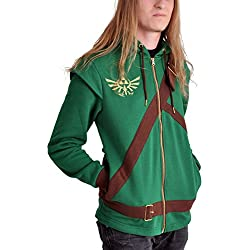 The Legend of Zelda Cosplay Zip-Hoodie Sudadera capucha con cremallera verde/marrón L