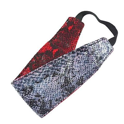 rougecaramel - Accessoires cheveux - Bandeau/headband/serre tête large imprimé serpent réversible - rouge/gris