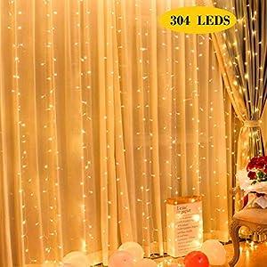 Qomolo Lichterkette Vorhang 304 LEDs lichtervorhang Innen und außen, 3x3m Warmweiß 8 Lichteffekte Dekorationsleuchte Außen Beleuchtung von Garten, Weihnachten, Hochzeit, Party