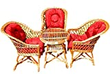 123home24.com Eine Reihe von polnischen Korbmöbel: 3 Sessel