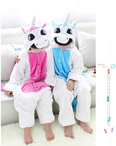 Misslight Einhorn Pyjama Damen Jumpsuits Tieroutfit Tierkostüme Schlafanzug Einhorn Kostüme Tier Sleepsuit mit festival tauglich Erwachsene und Kinder Blue