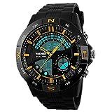 Panegy Herren Armbanduhr Outdoor Sportuhr Fashion Stil Digitaluhr Analog Multifunktionelle Dual-time Wasserdichte Uhren-Gelb