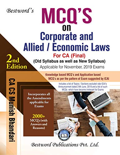Bestword CA Final MCQs on Corporate and Allied Laws and Economic Old and New Syllabus By Munish Bhandari Applicable for November 2019 Exam