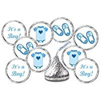 ‏‪324 Blue Onesie, Pin, Its a Boy Baby Shower Favors Stickers For Baby Shower Or Baby Sprinkle Party, Baby Shower Kisses Stickers, Baby Shower Blue Favors, Baby Shower Labels, Candy Not Included‬‏