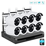 EMAX Kit Videosorveglianza Wifi NVR 720P 8Canali 8 Wifi Telecamera Sorveglianza Esterno Antifurto Casa Visione Notturna H.264(Disco rigido da 2 TB preinstallato)