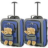 2er Set MiniMax Kinderkoffer Reisekoffer Trolley Handgepäck Rucksack mit Vordertasche für Spielzeugen/Puppen/ Teddybär (2 x Blau +Teddy)