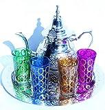 kenta artesanias Grande Juego Artesanal MARROQUI : Tetera para 6 + Bandeja DE 30 CM + 4 Vasos DE Cristal MARROQUI + Llavero-Adorno Regalo