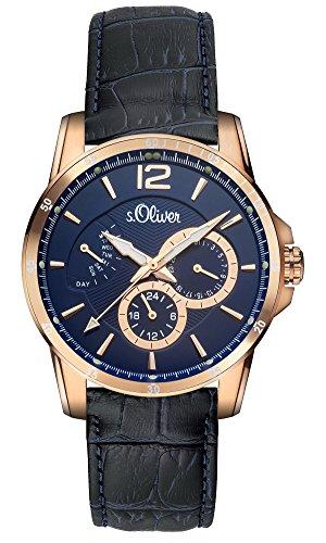 s.Oliver - SO-2938-LQ - Montre Homme - Quartz Analogique - Bracelet Cuir Noir