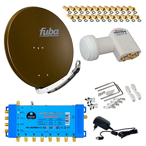 FUBA 8 Teilnehmer Digital SAT Anlage DAA850B + Opticum LNB 0,1dB FULL HDTV 4K + PMSE Multischalter 5/8 + 24 Vergoldete F-Stecker Gratis dazu
