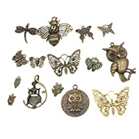 ULTNICE 15pcs Butterfly Charms Owl Charms Antique Animal Charms DIY Jewelry Charm for Necklace Earrings Necklace Jewelry Making Supplies(Brass)