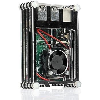 Tontec Black Slices Case for Raspberry Pi 2 Model B, Raspberry Pi Model B+ and Raspberry Pi 3 Model B with Mini Fan