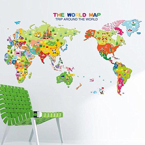 Wandaufkleber Großhandel Neue Cartoon Tier Weltkarte Kinderzimmer Klassenzimmer Dekoration Abnehmbar (Weltkarte Poster Stoff)