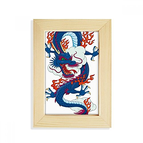 DIYthinker China Chinese Drachen WÖlke Muster Desktop-HÖlz-Bilderrahmen Fotokunst-Malerei Passt 10.2 x 15.2cm (4 x 6 Zoll) Bild Mehrfarbig