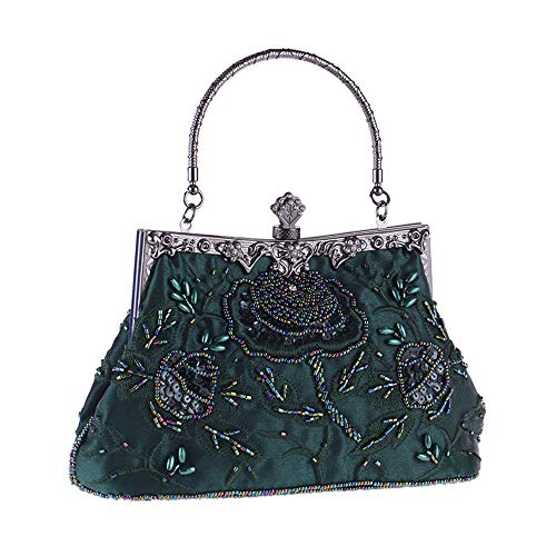 LLUFFY-Clutch Handtasche Vintage Seide bestickt Abend AbendessenTascheEisen Griff Cheongsam Braut Tasche Mode Perlen kleine quadratische Tasche Kleid passende, 16 * 22 *   14 cm, grün - Seide Vintage Abend Tasche