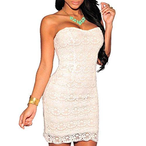 ABILIO - vestito donna elegante abito uncinetto pizzo crochet vestitino fascia cerimonia Bianco