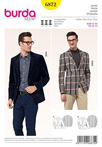 Burda B6872 Patron de Couture Veste Homme 19 x 13 cm