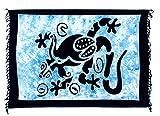 Sarong Pareo Wickelrock Lunghi Dhoti Tuch Strandtuch Tribal Gecko Türkis Blau Echse Gecko + Schnalle